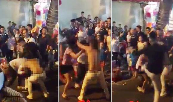 Mâu thuẫn đêm Trung Thu, hai thiếu nữ lao vào lột áo đánh nhau