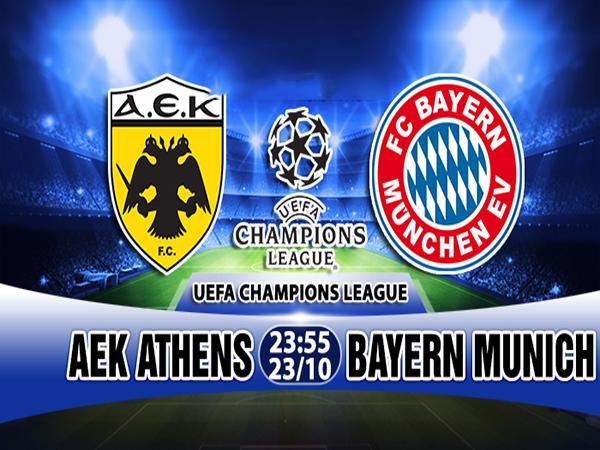 Link sopcast: AEK Athens vs Bayern Munich, 23h55 ngày 23/10, Cúp C1 Châu Âu