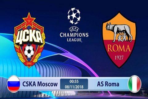 Trực tiếp CSKA Moscow vs AS Roma 00h55, 08/11