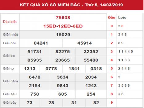 Thống kê KQXSMB – Dự đoán XSMB thứ 6 ngày 15/03/2019