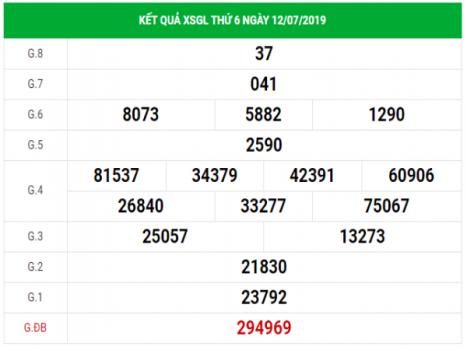 Dự đoán kết quả XSGL hôm nay thứ 6 ngày 19/07/2019