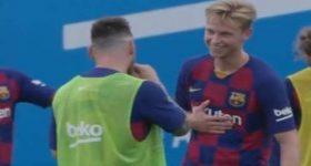 Frenkie de Jong hớn hở ngày gặp Messi
